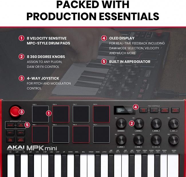 AKAI Professional MPK Mini MK3 - 25 Key USB MIDI Keyboard Controller