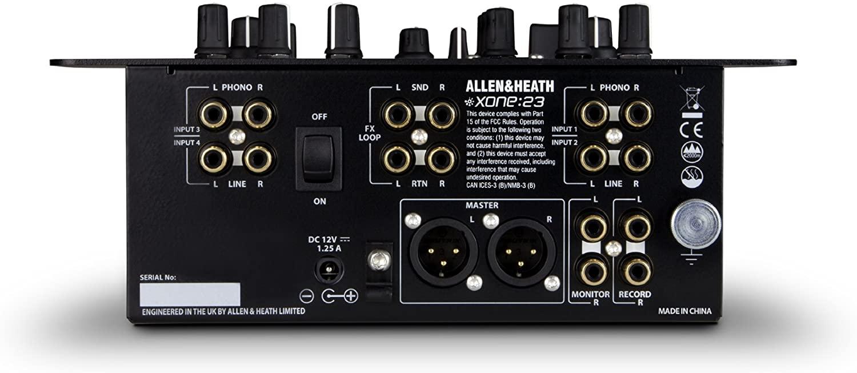 Allen & Heath XONE-23 2-Plus-2 Channel DJ Mixer backside