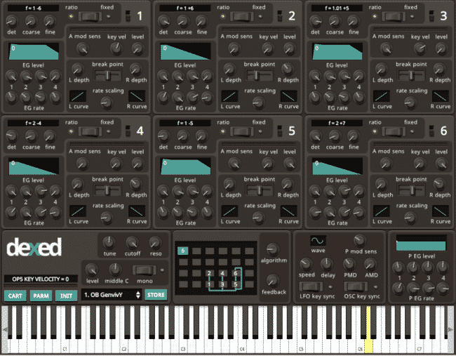 dexed FM plug-in instrument