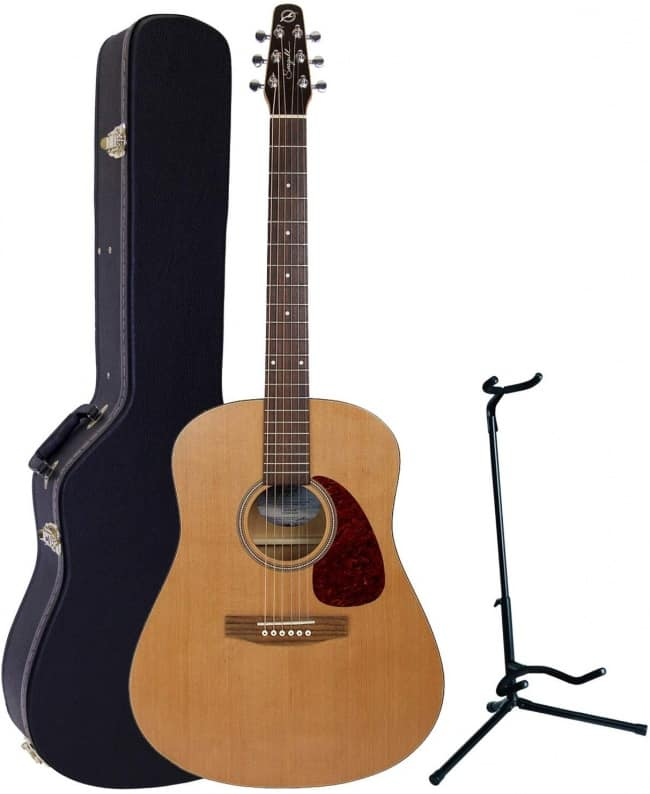"""Seagull S6 """"The Original"""" Acoustic Guitar w/Dreadnought Hardshell Case and Guitar Stand"""