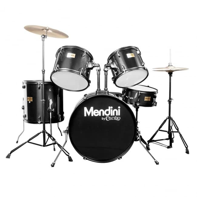 Mendini by Cecilio Complete Full Size 5-Piece Adult Drum Set with Cymbals, Pedal, Throne, and Drumsticks, Metallic Black, MDS80-BK