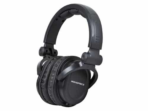 Monoprice Premium Hi-Fi DJ Style Over-The-Ear Pro Headphones with A Single-Button Inline Microphone:Controller