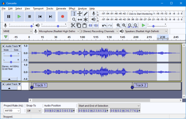 Audacity free music production software