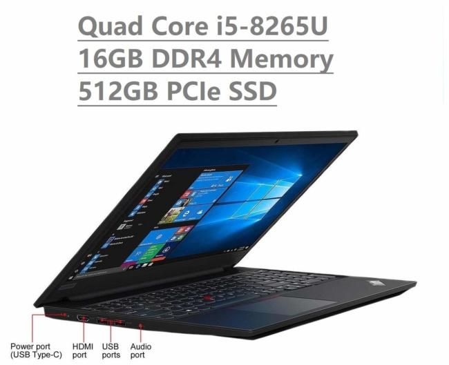 2019 Lenovo Thinkpad E590 15.6 HD Business Laptop (Intel Quad Core i5-8265U, 16GB DDR4 Memory, 512GB PCIe 3.0(x4) NVMe SSD M.2 SSD) Type-C, HDMI, Ethernet, Webcam, Windows 10