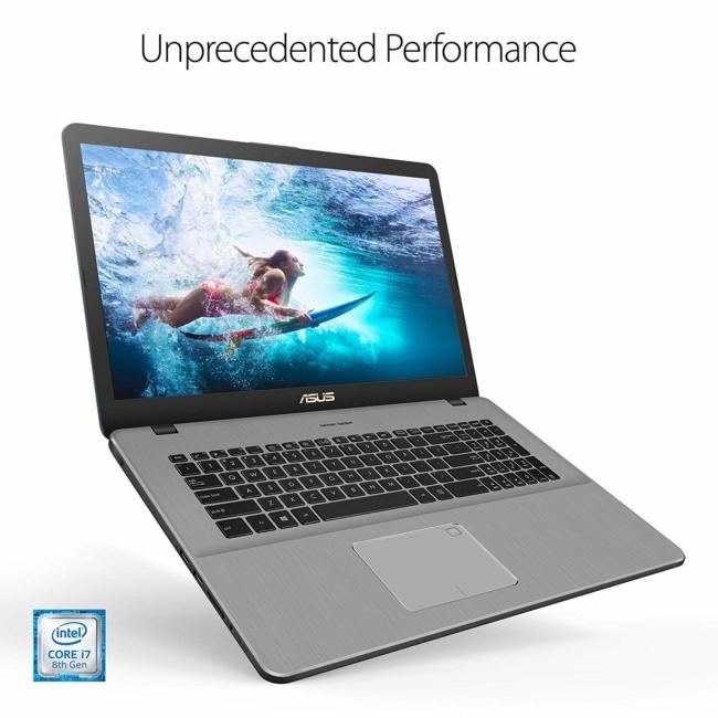 "ASUS VivoBook Pro 17 Thin and Portable Laptop, 17.3"" FHD, Intel Core i7-8565U, GeForce GTX 1050, 16GB DDR4, 256GB SSD+1TB, Wi-Fi 5, Backlit KB, FP Reader, Windows 10 - N705FD-ES76"