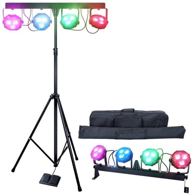 DragonX 4 Bar LED mobile DJ Stage Lighting Package:108W Portable RGB Par Can Kit Gig Spotlight Bar Set:Sound Activated Flex Wash Light Party System W:Stand