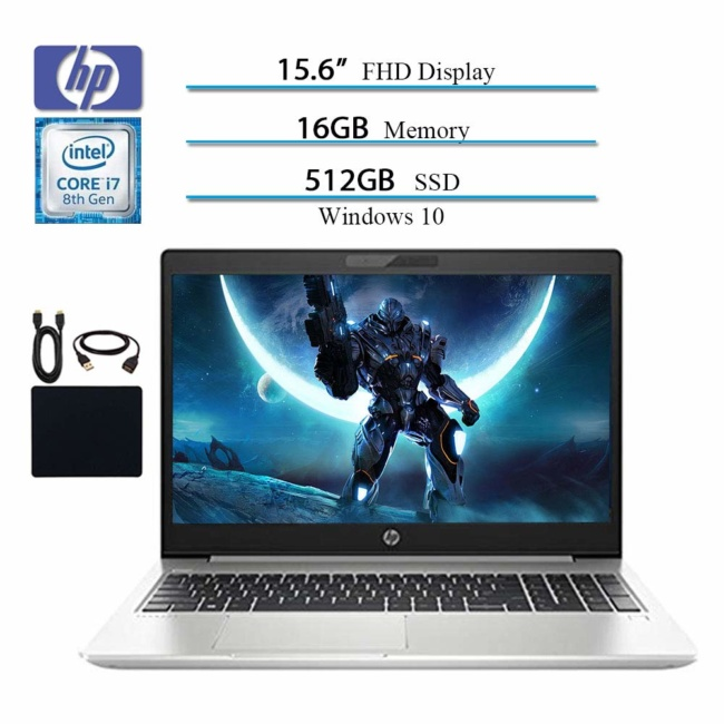 HP 2019 Premium Flagship Probook 450 G6 15.6 Full HD 1920x1080 Business Laptop, Intel 4-Core i7-8565U, Bluetooth, HDMI, Win 10 Pro, 16GB RAM, 512GB SSD