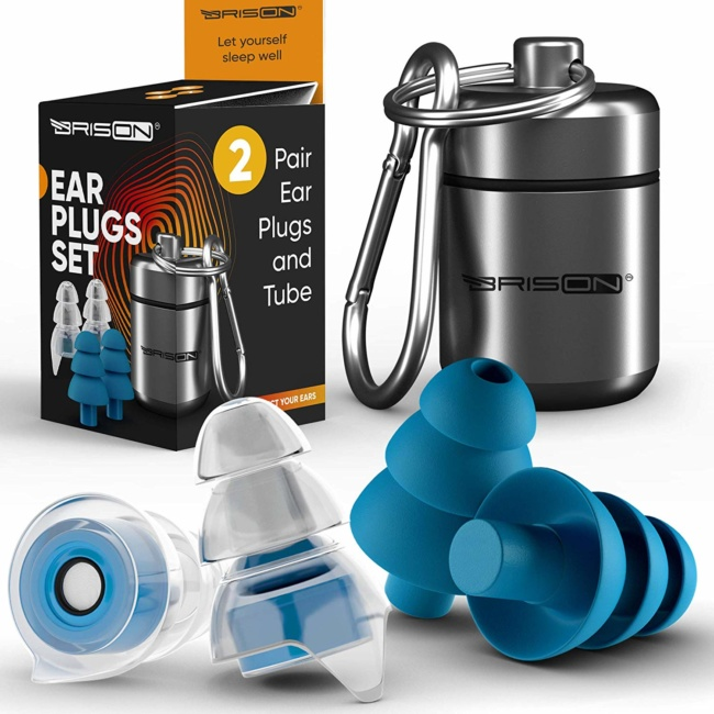 Noise Cancelling Ear Plugs for Sleeping [2 Pairs] Reusable Safe Silicone Earplugs Musicians Hearing Protection with High Fidelity Sound Reduction for Concerts Musicians