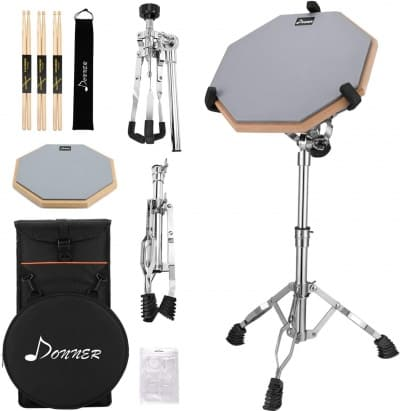 Donner Drum Practice Pad With Snare Drum Stand Adjustable Kit