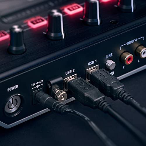 Numark NS6II | 4-Channel DJ Controller For Serato DJ backside with two usb