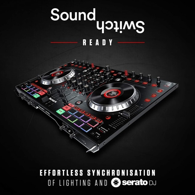 Numark NS6II + SoundSwitch DMX Micro Interface | 4-Channel DJ Controller With Dual USB Ports For Handoffs, LCD Displays, Standalone Digital Mixer + Compact