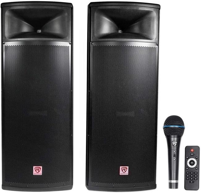 Rockville Pair Dual 15 2000w Powered DJ Speaker System w:Bluetooth+Mic, (RPG225K) package