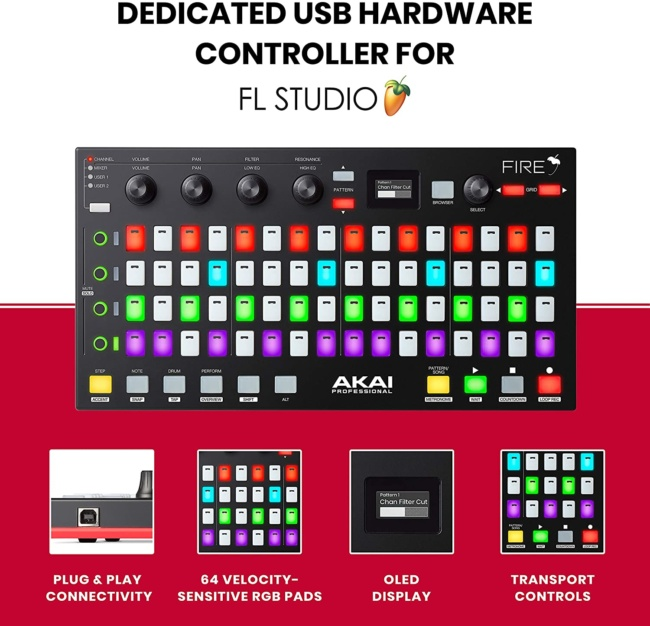 Akai Professional Fire | Performance Controller for FL Studio With Plug-And-Play USB Connectivity