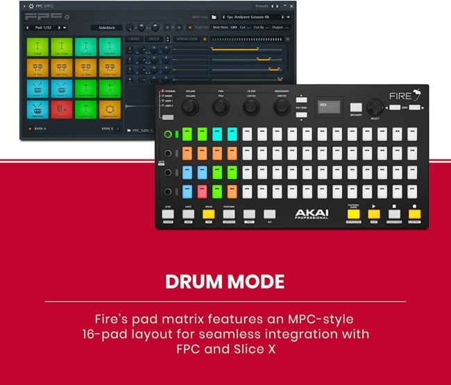 Akai Professional Fire | Performance Controller for FL Studio With Plug-And-Play USB Connectivity drum mode