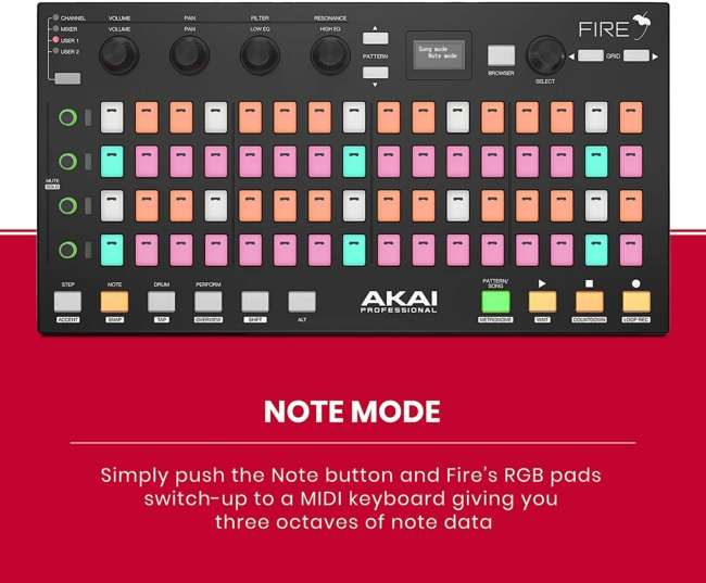 Akai Professional Fire | Performance Controller for FL Studio With Plug-And-Play USB Connectivity note mode