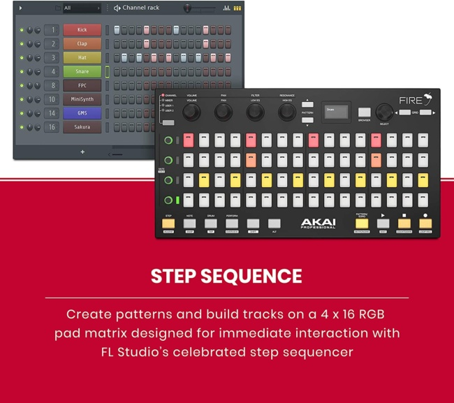 Akai Professional Fire | Performance Controller for FL Studio With Plug-And-Play USB Connectivity step sequence