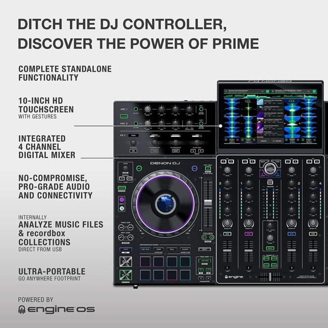 Denon DJ PRIME 4 | 4 Deck Standalone Smart DJ Console : Serato DJ Controller specs
