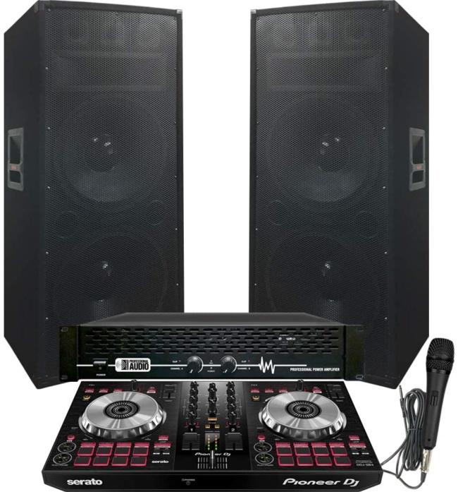 6100 Watt - Pioneer - Serato - DJ System - Pioneer DJ Controller DDJ-SB3 - Serato DJ Lite Software - Dual 15 Adkins Pro DJ Speakers - APA-6100 Amp and Mic