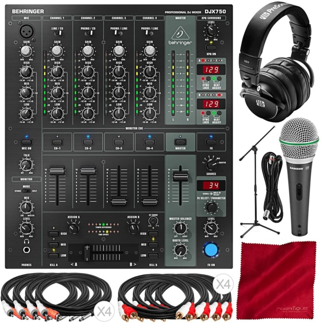 Behringer DJX750 Professional 5-Channel DJ Mixer with PreSonus HD9 Headphone, Samson Dynamic Microphone, Mic Boom Stand, and Premium DJ Bundle