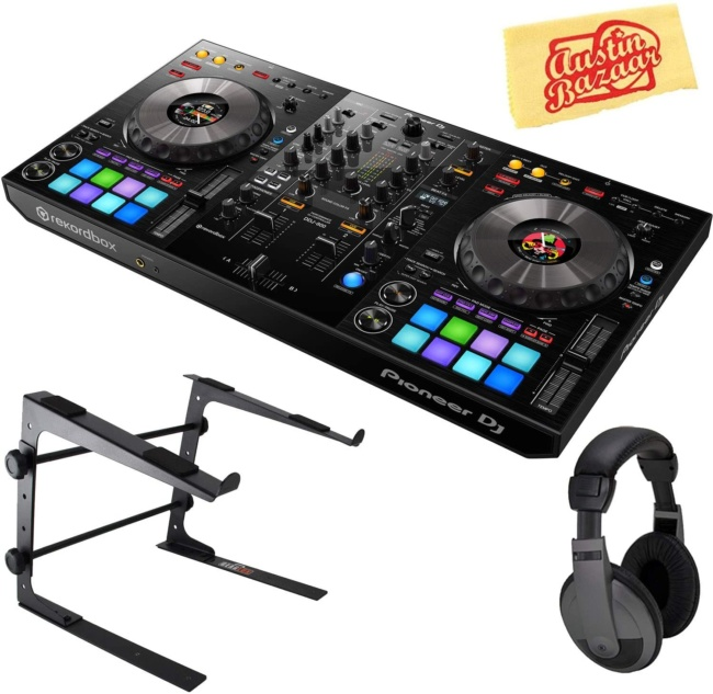 Pioneer DDJ-800 2-Channel Portable DJ Controller for Rekordbox DJ Bundle with Stand, Headphones, and Austin Bazaar Polishing Cloth