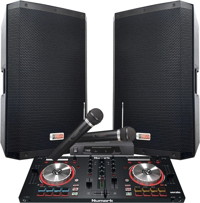 The Serato DJ System 4000 WATTS! - 15 ZX-15P Powered Speakers. Numark Mixtrack Pro3 includes Serato DJ Software