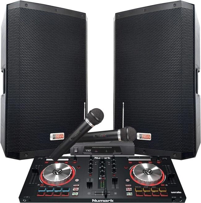 The Serato DJ System 4000 WATTS! - 15 ZX-15P Powered Speakers. Numark Mixtrack Pro3 includes Serato DJ Software