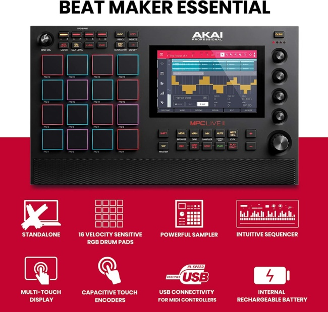 АKAI Professional MPC Live II – Battery Powered Drum Machine and Sampler With Built in Speakers, Beat Pads, Synth Engines and Touch Display review