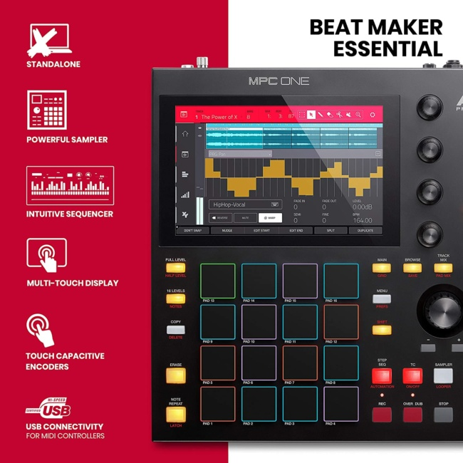 Akai Professional MPC One – Drum Machine, Sampler & MIDI Controller with Beat Pads, Synth Engines, Standalone Operation and Touch Display features
