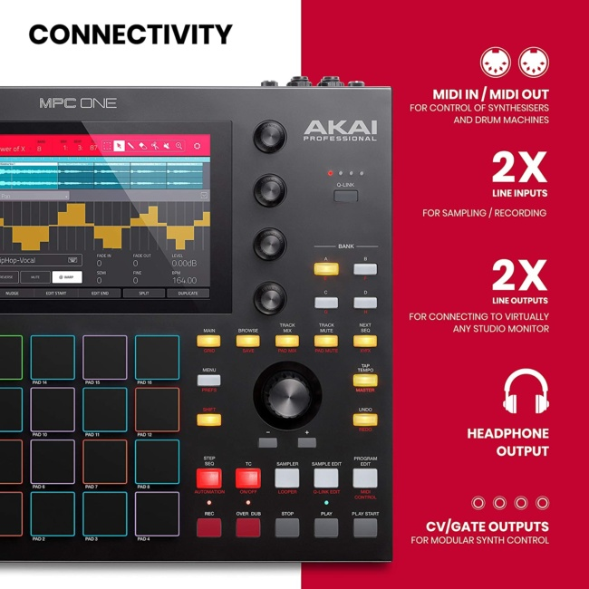 Akai Professional MPC One – Drum Machine, Sampler & MIDI Controller with Beat Pads, Synth Engines, Standalone Operation and Touch Display features two