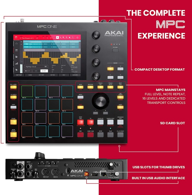 Akai Professional MPC One – Drum Machine, Sampler & MIDI Controller with Beat Pads, Synth Engines, Standalone Operation and Touch Display slots