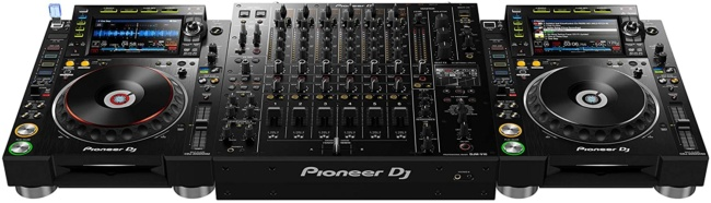 Pioneer DJ DJM-V10 6-channel DJ Mixer setup with CDJ