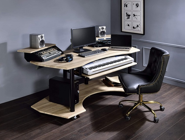 Acme Furniture Eleazar Music Recording Studio Desk full setup