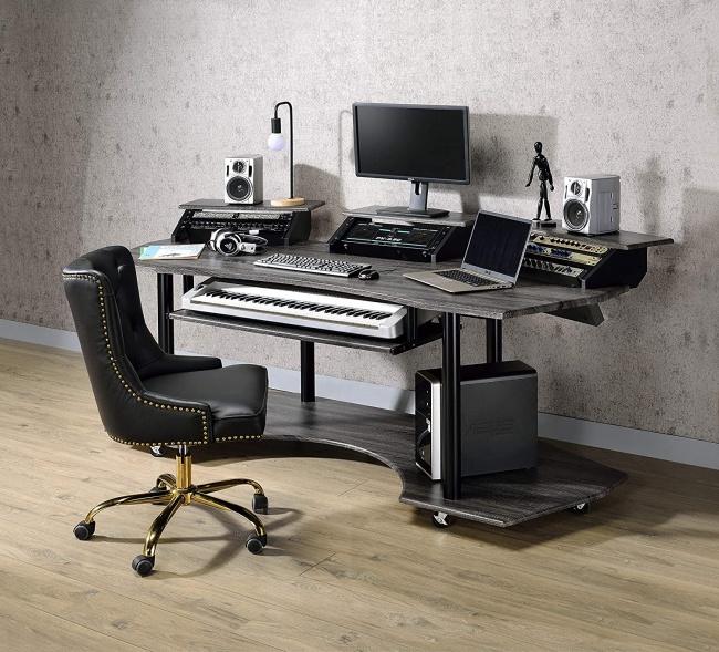 Acme Furniture Eleazar Music Recording Studio Desk setup full