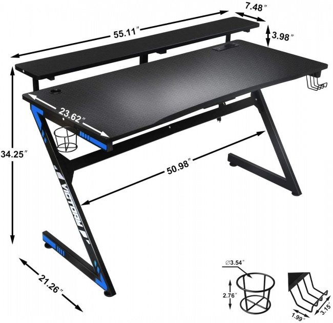 Large Gaming Desk 55 Inch Computer Gaming Desk E-Sports Racing Table with with Cup Holder, Headphone Hook for Home Office