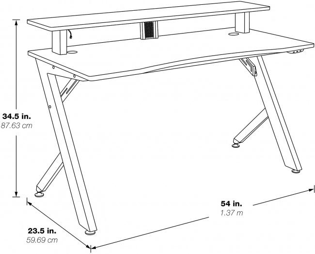 OSP Home Furnishings Area51 Battlestation LED Lit Gaming Desk dimensions
