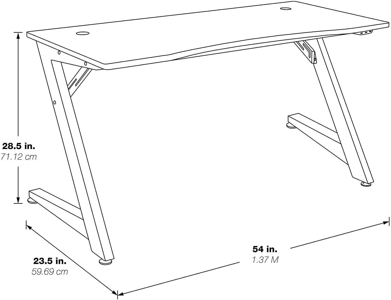 OSP Home Furnishings Beta Battlestation LED Lit Studio Desk dimensions