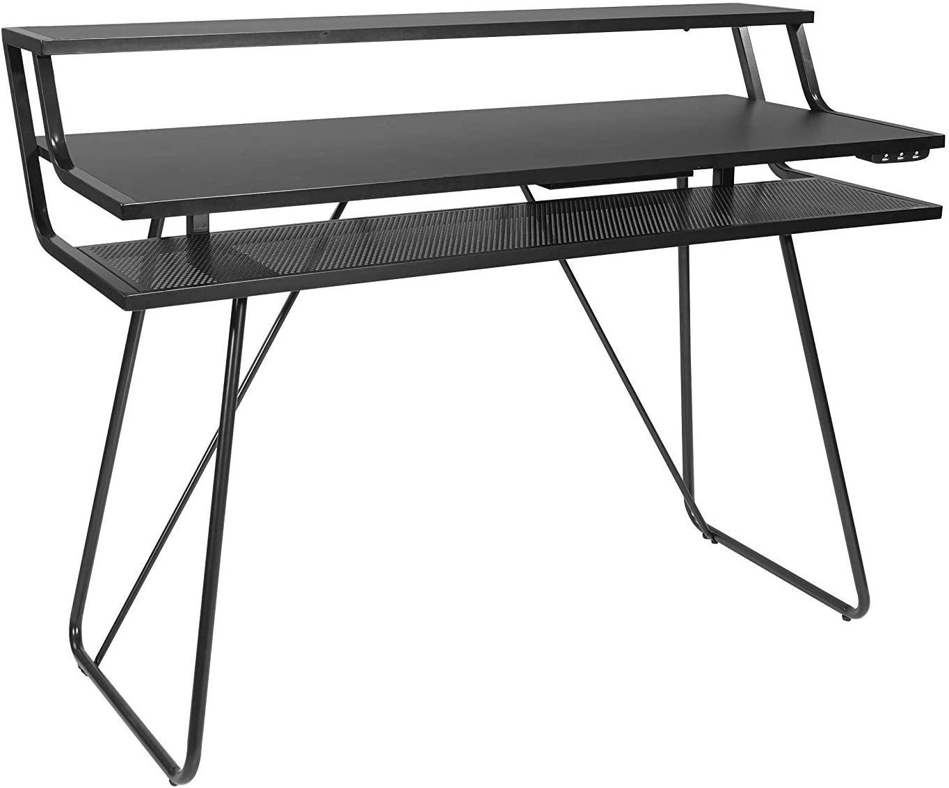 OSP Home Furnishings Glitch Battlestation Gaming Desk, Black