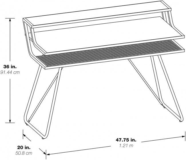 OSP Home Furnishings Glitch Battlestation Gaming Desk, dimensions