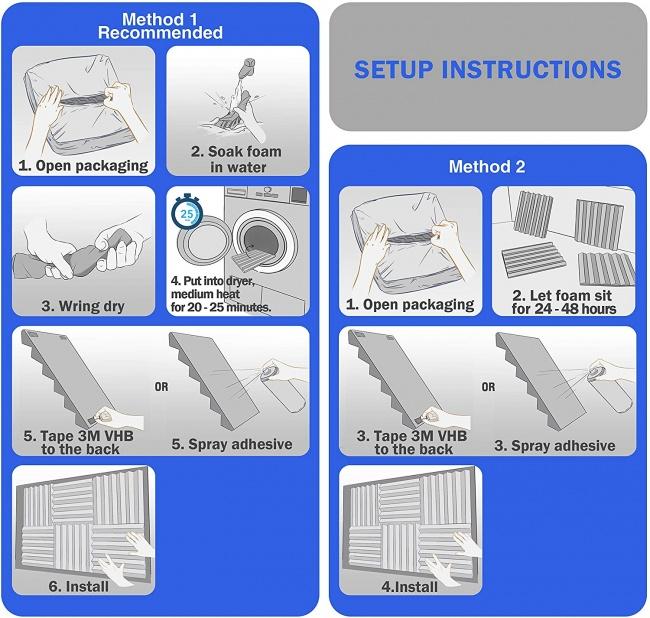 Acoustic Foam Panels, 2 X 12 X 12 Acoustic Foam Sound Absorption setup instructions