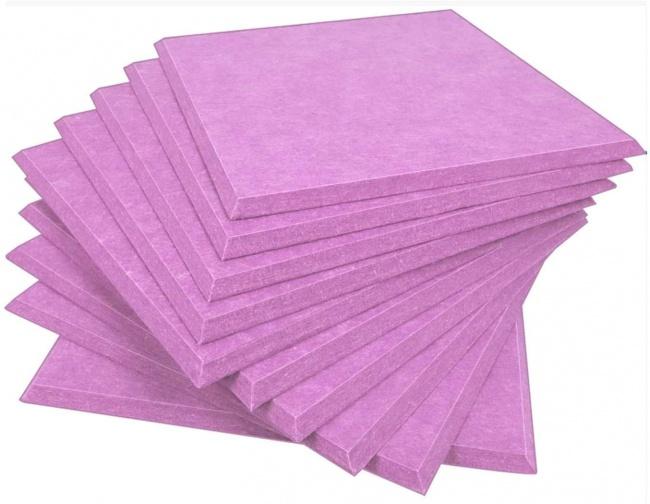 DEKIRU Upgraded 12 Pack Acoustic Panels Sound Proofing Padding Studio Foam, 12 X 12 X 0.4 Inches Bevled Edge Soundproofing Panels pink purple