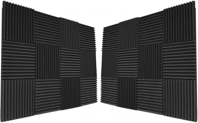 Foamily 12 Pack- All Burgundy Acoustic Panels Studio Foam Wedges 1 X 12 X 12 black