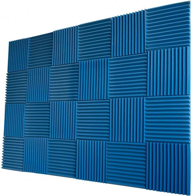 Foamily 12 Pack- All Burgundy Acoustic Panels Studio Foam Wedges 1 X 12 X 12 blue