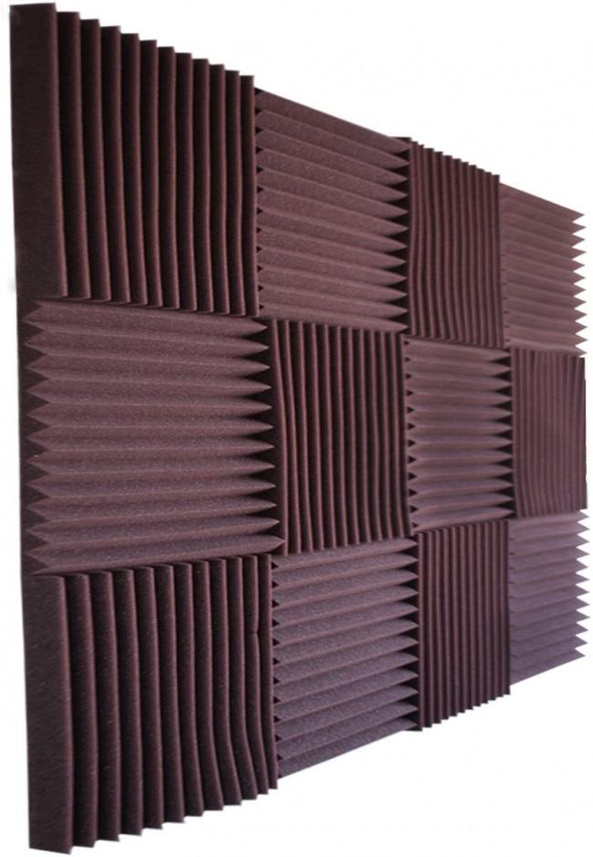 Foamily 12 Pack- All Burgundy Acoustic Panels Studio Foam Wedges 1 X 12 X 12 burgundy