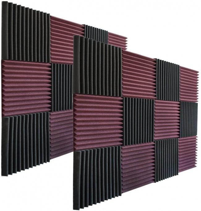 Foamily 12 Pack- All Burgundy Acoustic Panels Studio Foam Wedges 1 X 12 X 12 charcoal