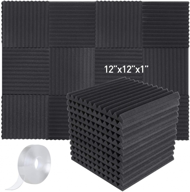 Focusound 24 Packs Acoustic Foam Panels Wedge Soundproof Studio Wall Tiles Sound Absorbing with Double Side Adhesive Tape