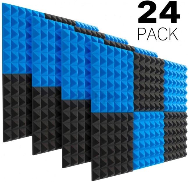 JBER Acoustic Sound Foam Panels, 24 Pack 2 X 12 X 12 Charcoal Soundproofing Treatment Studio BLUE PACK