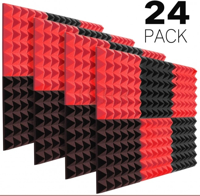 JBER Acoustic Sound Foam Panels, 24 Pack 2 X 12 X 12 Charcoal Soundproofing Treatment Studio RED