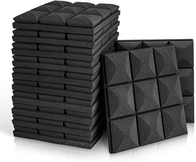 Acoustic Foam Panels, 2 X 12 X 12 Mushroom Studio Wedge Tiles black