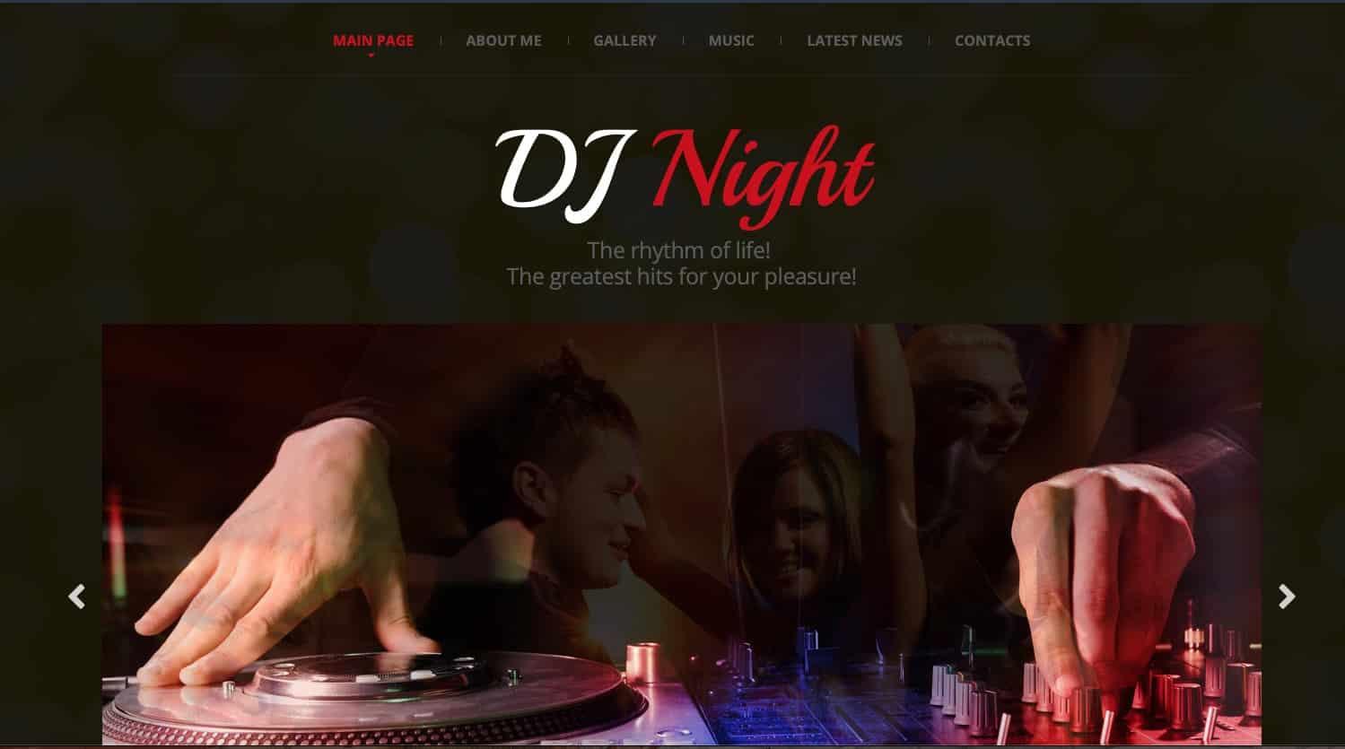 DJ Night website template