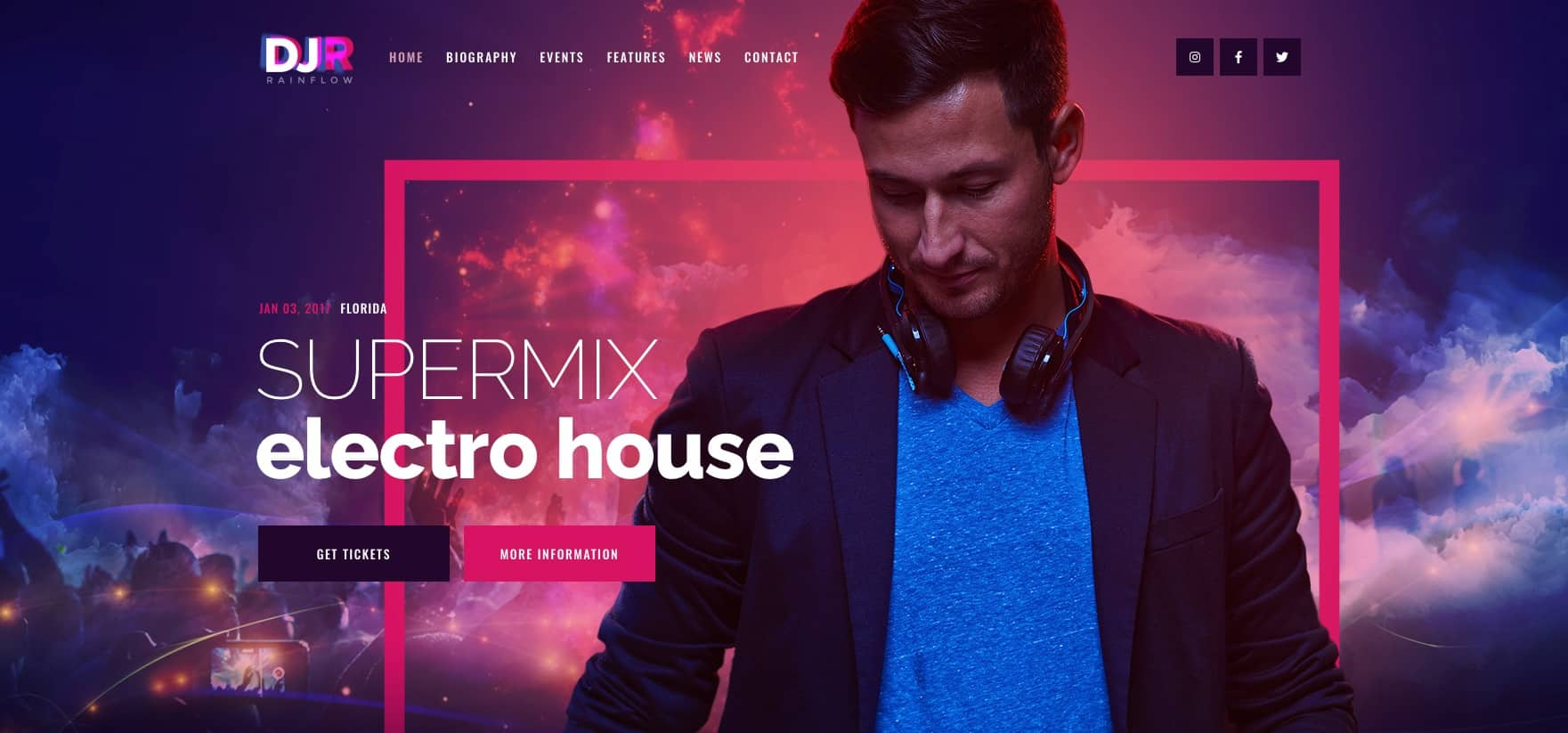 DJ Rainflow Music Band & DJ WordPress Theme